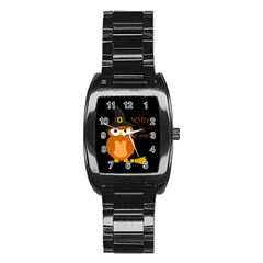 Halloween Orange Witch Owl Stainless Steel Barrel Watch