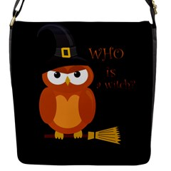 Halloween Orange Witch Owl Flap Messenger Bag (s)