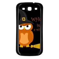Halloween Orange Witch Owl Samsung Galaxy S3 Back Case (black)
