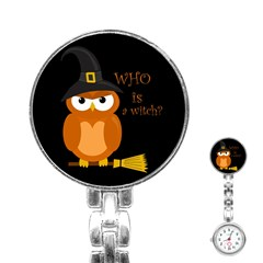 Halloween Orange Witch Owl Stainless Steel Nurses Watch