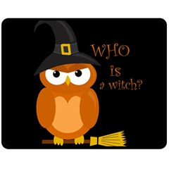 Halloween Orange Witch Owl Double Sided Fleece Blanket (medium)
