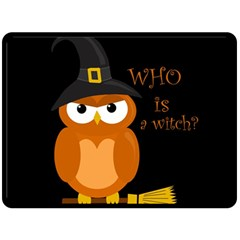 Halloween Orange Witch Owl Double Sided Fleece Blanket (large)