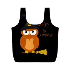 Halloween Orange Witch Owl Full Print Recycle Bags (m)