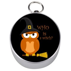 Halloween Orange Witch Owl Silver Compasses
