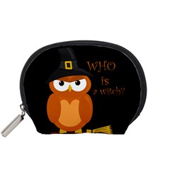 Halloween Orange Witch Owl Accessory Pouches (small)