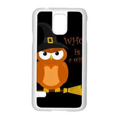 Halloween Orange Witch Owl Samsung Galaxy S5 Case (white)