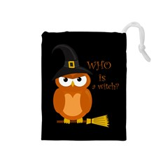 Halloween Orange Witch Owl Drawstring Pouches (medium)
