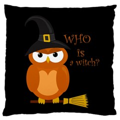 Halloween Orange Witch Owl Large Flano Cushion Case (one Side)