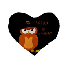Halloween Orange Witch Owl Standard 16  Premium Flano Heart Shape Cushions