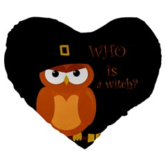 Halloween Orange Witch Owl Large 19  Premium Flano Heart Shape Cushions