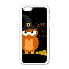 Halloween Orange Witch Owl Apple Iphone 6/6s White Enamel Case