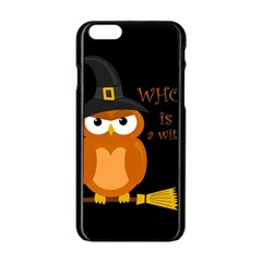Halloween Orange Witch Owl Apple Iphone 6/6s Black Enamel Case
