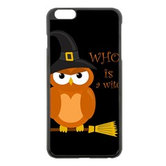 Halloween Orange Witch Owl Apple Iphone 6 Plus/6s Plus Black Enamel Case