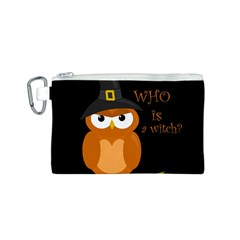 Halloween Orange Witch Owl Canvas Cosmetic Bag (s)
