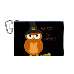 Halloween Orange Witch Owl Canvas Cosmetic Bag (m)