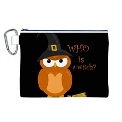 Halloween Orange Witch Owl Canvas Cosmetic Bag (l)