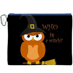 Halloween Orange Witch Owl Canvas Cosmetic Bag (xxxl)