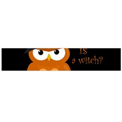 Halloween Orange Witch Owl Flano Scarf (large)