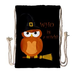 Halloween Orange Witch Owl Drawstring Bag (large)