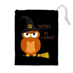 Halloween Orange Witch Owl Drawstring Pouches (extra Large)