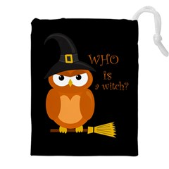 Halloween Orange Witch Owl Drawstring Pouches (xxl)