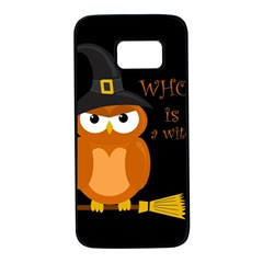Halloween Orange Witch Owl Samsung Galaxy S7 Black Seamless Case