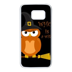 Halloween Orange Witch Owl Samsung Galaxy S7 White Seamless Case