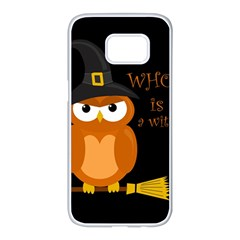 Halloween Orange Witch Owl Samsung Galaxy S7 Edge White Seamless Case