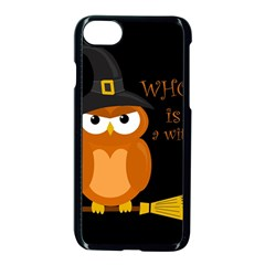 Halloween Orange Witch Owl Apple Iphone 7 Seamless Case (black)