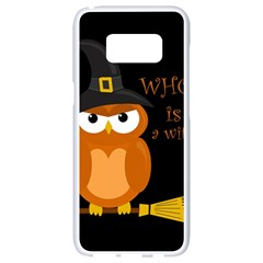 Halloween Orange Witch Owl Samsung Galaxy S8 White Seamless Case