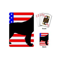 American Water Spaniel Silhouette Usa Flag Playing Cards (mini)