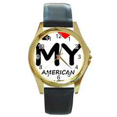 I Love My American Water Spaniel Round Gold Metal Watch