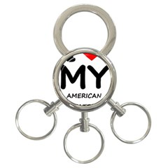 I Love My American Water Spaniel 3 Ring Key Chains