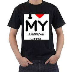 I Love My American Water Spaniel Men s T Shirt (black) (two Sided)