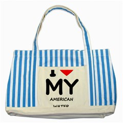 I Love My American Water Spaniel Striped Blue Tote Bag
