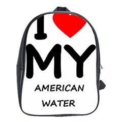I Love My American Water Spaniel School Bag (large)