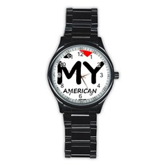 I Love My American Water Spaniel Stainless Steel Round Watch