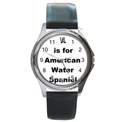 A Is For American Water Spaniel Round Metal Watch