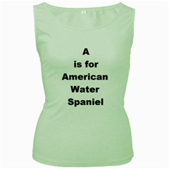A Is For American Water Spaniel Women s Green Tank Top