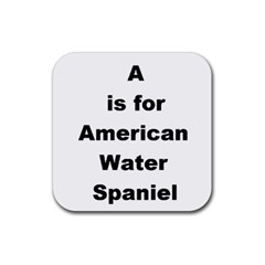 A Is For American Water Spaniel Rubber Square Coaster (4 Pack)