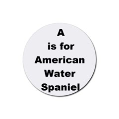 A Is For American Water Spaniel Rubber Round Coaster (4 Pack)