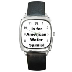 A Is For American Water Spaniel Square Metal Watch