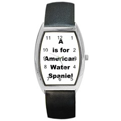 A Is For American Water Spaniel Barrel Style Metal Watch