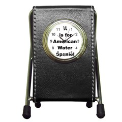 A Is For American Water Spaniel Pen Holder Desk Clocks