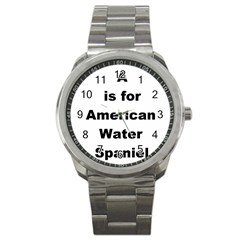 A Is For American Water Spaniel Sport Metal Watch