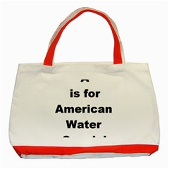 A Is For American Water Spaniel Classic Tote Bag (red)