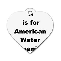 A Is For American Water Spaniel Dog Tag Heart (one Side)