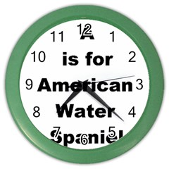 A Is For American Water Spaniel Color Wall Clocks