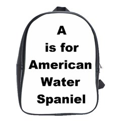 A Is For American Water Spaniel School Bag (large)