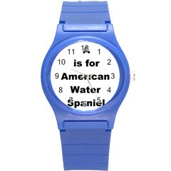 A Is For American Water Spaniel Round Plastic Sport Watch (s)